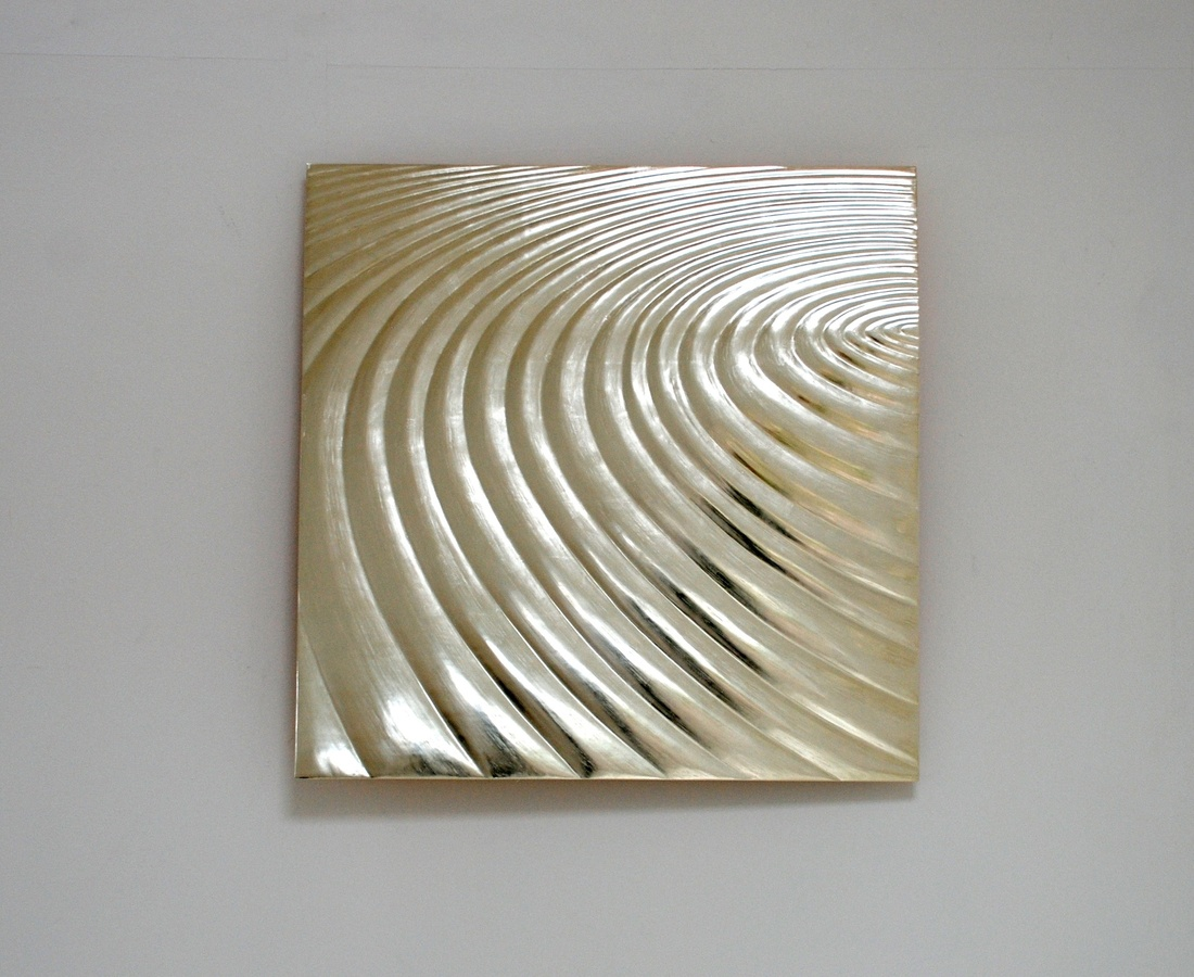 Circling, 80 cm square , 12 ct white gold on carved wood